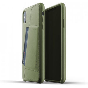 Mujjo Full Leather Wallet pouzdro iPhone XS Max olivové