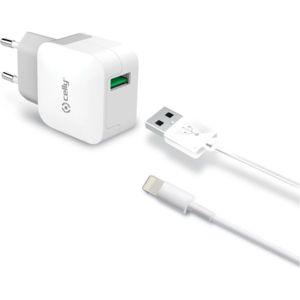 CELLY USB cestovní nabíječka s Lightning kabelem 2,4A bílá