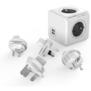 PowerCube ReWirable USB + Travel Plugs zásuvka šedá