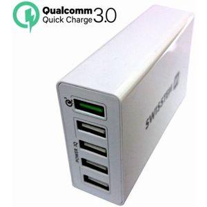 SWISSTEN síťový adaptér QUALCOMM 3.0 QUICK CHARGE + SMART IC 5x USB BÍLÝ