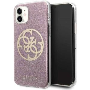 Guess 4G Glitter Circle kryt iPhone 11 růžový