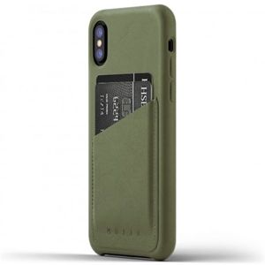 Mujjo Full Leather Wallet pouzdro Apple iPhone X olivové