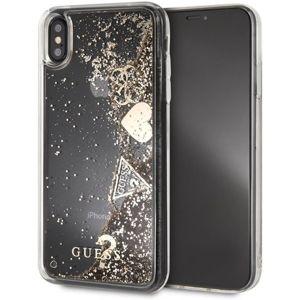 Guess Glitter Case Hearts iPhone XS Max zlaté