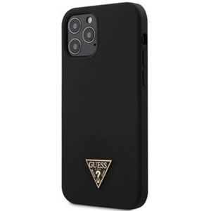 "Guess Silicone Metal Triangle kryt iPhone 12/12 Pro 6.1"" černý"