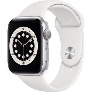 Apple Watch Series 6 44mm stříbrný hliník s bílým sportovním řemínkem