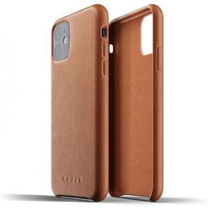 Mujjo Full Leather kryt Apple iPhone 11 žlutohnědý